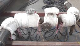 배관의 용접 후 후열처리 작업 모습